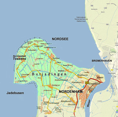 butjadingen karte Seestern Tossens   Land & Leute